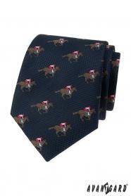 Modrá kravata vzor dostihový kůň