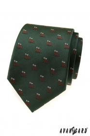 Zelená kravata s motivem jelen