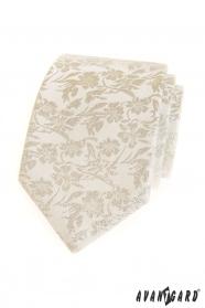 Smetanová kravata s květinovým vzorem