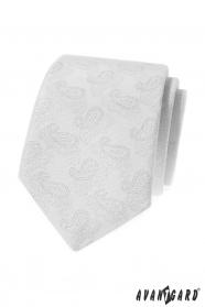 Bílá kravata s Paisley vzorem