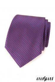Fialová kravata s modrými puntíky