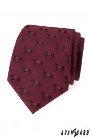 Bordó kravata vzor černý kůň