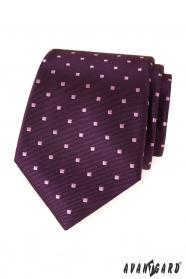 Fialová pánská kravata se čtverečky