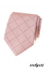 Pudrová kravata s lila proužky