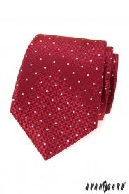 Červená vzorovaná kravata s bílou tečkou