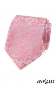 Růžová kravata se vzorem Paisley