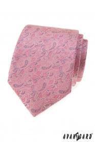 Růžovo-šedá kravata Paisley