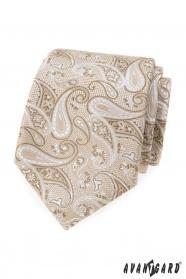 Béžová kravata s paisley vzorem