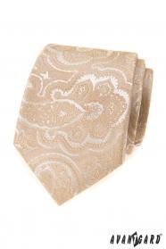Béžová kravata se vzorem