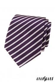 Fialová pánská kravata s proužky