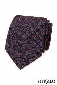 Modrá kravata s modro-červeným vzorem