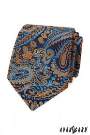 Modrá kravata s barevným paisley vzorem