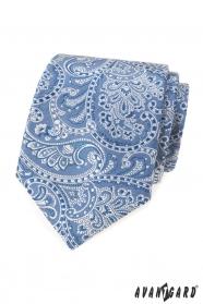 Světle modrá kravata s paisley motivem