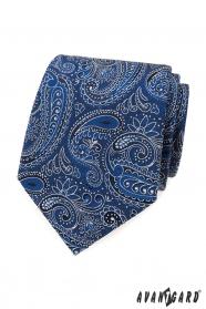 Kravata s modro-bílým paisley vzorem