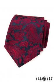 Tmavě modrá kravata s červeným paisley vzorem