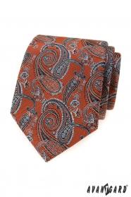 Skořicově hnědá kravata s paisley motivy