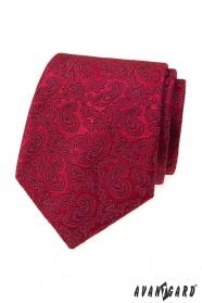 Pánská kravata s paisley motivy v bordó