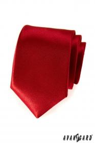 Hladká pánská kravata červená