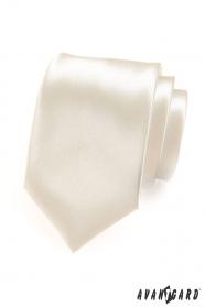 Pánská kravata smetanová s vysokým leskem
