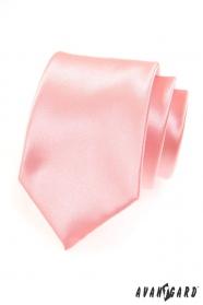 Pánská růžová hladká kravata
