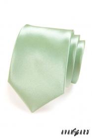 Pánská kravata světle zelená lesk