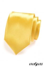 Pánská kravata žlutá lesklá