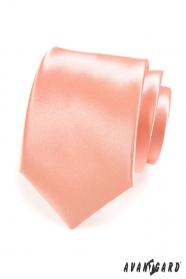 Hladká lesklá pánská kravata v lososovém tónu