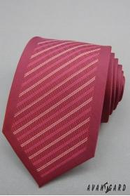Pánská kravata bordó s pruhy