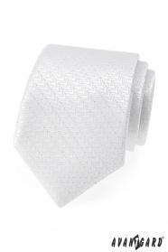 Slavnostní bílá kravata se stříbrnou nitkou
