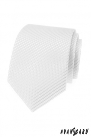 Bílá pánská kravata s proužky