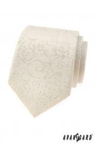 Smetanová pánská kravata se vzorem