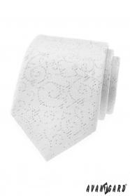 Bílá pánská kravata s ornamenty