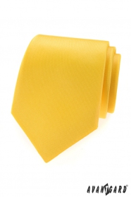 Křiklavě žlutá matná pánská kravata