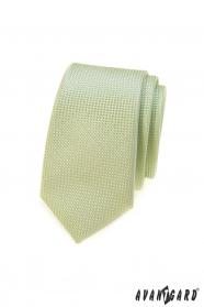 Zelená kravata SLIM, pletená struktura