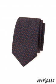 Modrá slim kravata s hnědým vzorem