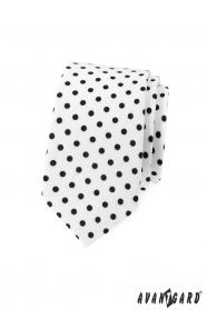 Bílá slim kravata s černým puntíkem