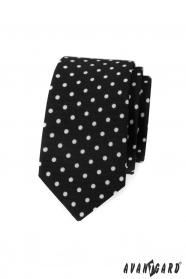 Černá slim kravata s bílými puntíky