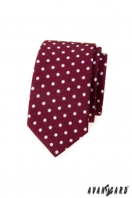 Bordó slim kravata s bílými puntíky