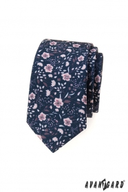 Modrá slim kravata s růžovými květy