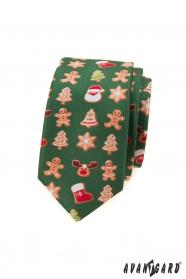 Zelená slim kravata s vánočním motivem