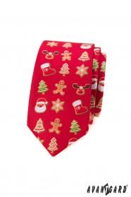 Červená slim kravata s vánočním motivem