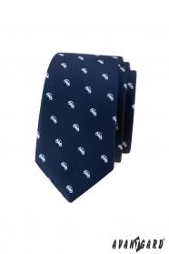 Modrá slim kravata s motivem bílá auta