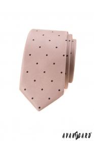 Béžová slim kravata s malými černými puntíky