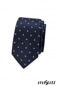 Modrá slim kravata vzor plachetnice