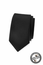 Černá, matná kravata Avantgard slim