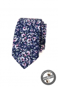 Tmavě modrá slim kravata s růžovými květy