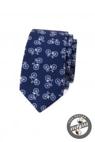 Modrá bavlněná slim kravata s motivem jízdní kolo