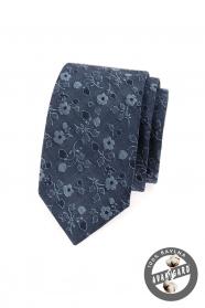 Modrá kravata SLIM  jeans s květinami