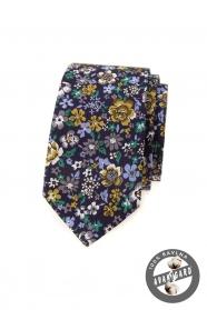 Tmavě fialová slim kravata s barevnými květy