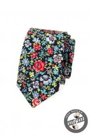 Modrá kravata SLIM s barevnými květinami